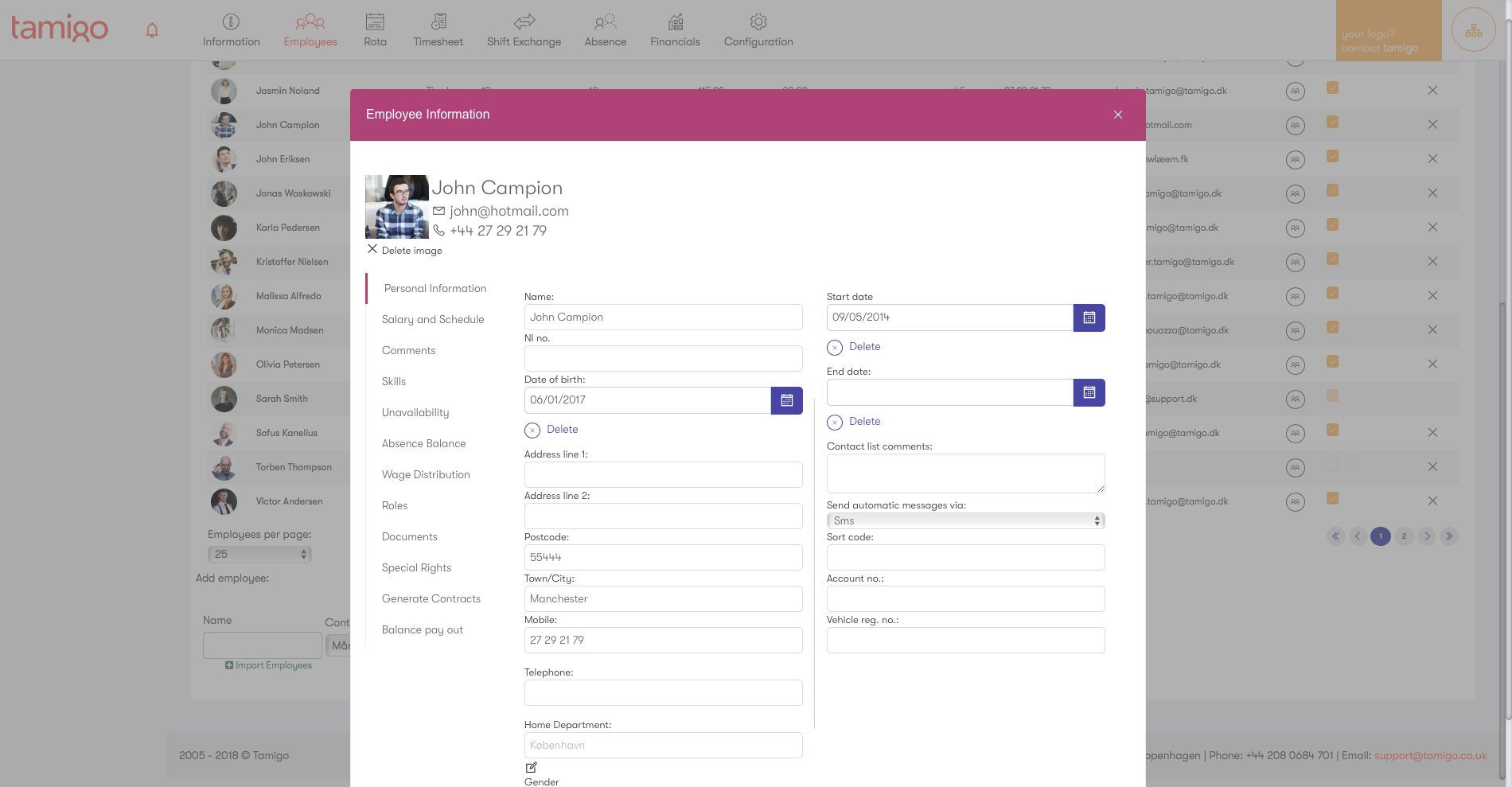 Employee info screenshot
